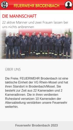 Vorschau der mobilen Webseite www.feuerwehr-brodenbach.de, Freiwillige Feuerwehr Brodenbach