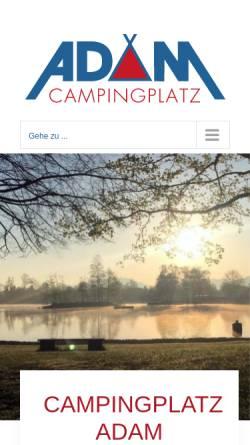 Vorschau der mobilen Webseite www.campingplatz-adam.de, Campingplatz Adam