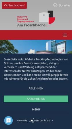 Vorschau der mobilen Webseite www.hotel-froschbaechel.de, Hotel Am Froschbächel, DRK Bildungszentrum