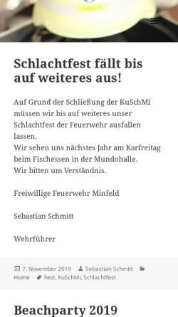 Vorschau der mobilen Webseite www.feuerwehr-minfeld.de, Freiwillige Feuerwehr Minfeld