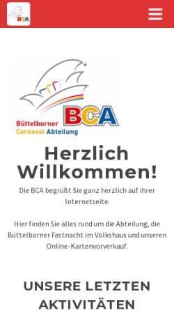 Vorschau der mobilen Webseite bca-buettelborn.de, Büttelborner Carneval Abteilung