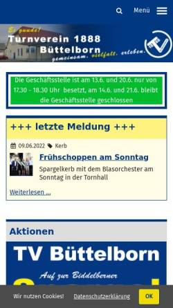 Vorschau der mobilen Webseite www.tvbuettelborn.de, Turnverein 1888 e.V. Büttelborn