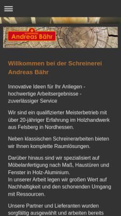 Vorschau der mobilen Webseite www.schreinerei-baehr.de, Schreinerei Andreas Bähr
