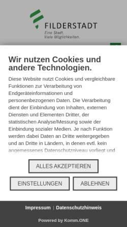 Vorschau der mobilen Webseite www.filderstadt.de, Stadt Filderstadt