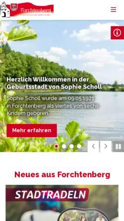 Vorschau der mobilen Webseite www.forchtenberg.de, Stadt Forchtenberg