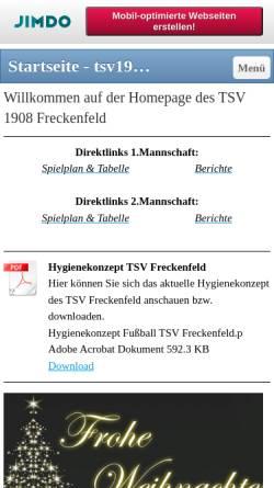 Vorschau der mobilen Webseite tsv1908freckenfeld.jimdo.com, TSV 1908 Freckenfeld