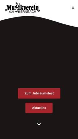 Vorschau der mobilen Webseite www.mv-bernbach.de, Musikverein 1921 Bernbach e.V.