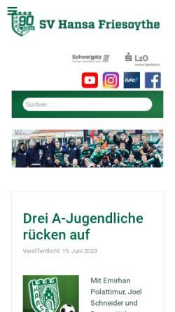 Vorschau der mobilen Webseite www.hansafriesoythe.de, SV Hansa Friesoythe e.V.