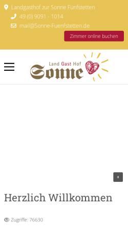 Vorschau der mobilen Webseite www.sonne-fuenfstetten.de, Landgasthof Zur Sonne