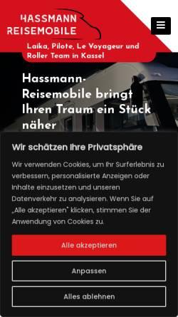 Vorschau der mobilen Webseite www.wohnmobilvermietung-fuldatal.de, Hassmann Reisemobile
