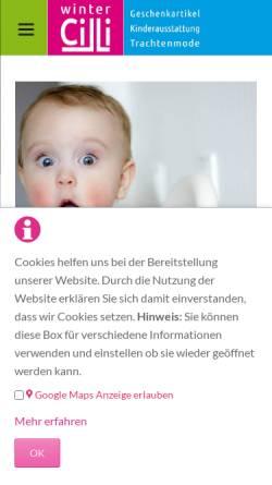 Vorschau der mobilen Webseite www.babyetage.de, Winter´s Babys- und Kids-Fashion