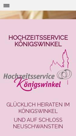 Vorschau der mobilen Webseite www.hochzeitsservice-koenigswinkel.de, Heiraten in Füssen