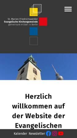 Vorschau der mobilen Webseite marienkirche-berlin.de, Evangelische Kirchengemeinde Marienkirche