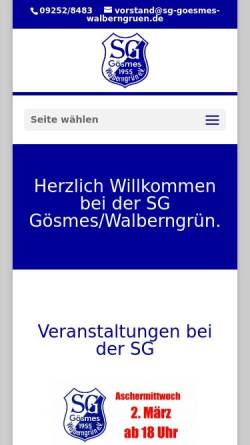 Vorschau der mobilen Webseite www.sg-goesmes-walberngruen.de, Sportgemeinschaft Gösmes-Walberngrün