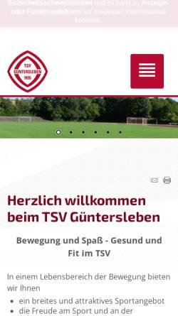 Vorschau der mobilen Webseite www.tsv-guentersleben.de, TSV Güntersleben