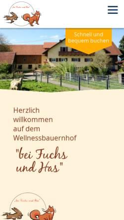 Vorschau der mobilen Webseite www.bei-fuchs-und-has.de, Urlaub auf dem Bauernhof - Familie Kammerl