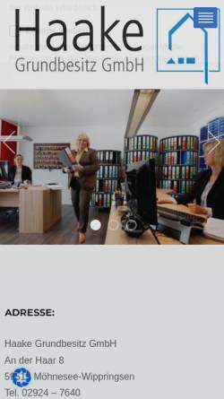 Vorschau der mobilen Webseite www.haake-immobilien.de, Haake Immobilien & Hausverwaltungen