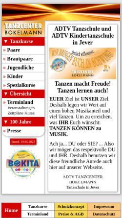 Vorschau der mobilen Webseite www.tanzschule-bokelmann.de, ADTV Tanzcenter Bokelmann