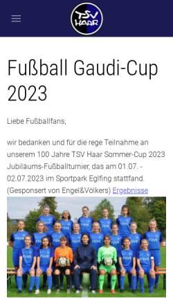 Vorschau der mobilen Webseite www.tsv-haar.de, TSV Haar e.V.