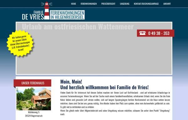 Vorschau von www.amdeichdv.de, Ferienwohnungen Familie de Vries