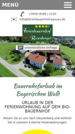 Vorschau der mobilen Webseite www.ferienbauernhof-passau.de, Ferienbauernhof Rosenberger
