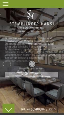 Vorschau der mobilen Webseite www.stemplinger-hansl.de, Zum Stemplinger Hansl
