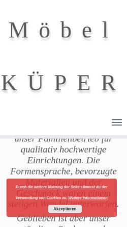 Vorschau der mobilen Webseite www.kueper-moebel.de, Möbel Küper