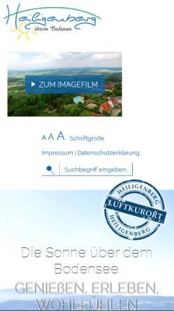 Vorschau der mobilen Webseite www.heiligenberg.de, Heiligenberg