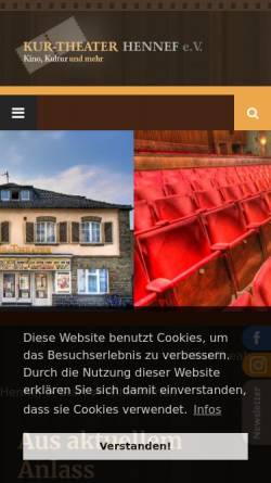 Vorschau der mobilen Webseite www.kurtheaterhennef.de, Kur-Theater Hennef e.V.