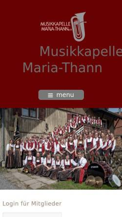 Vorschau der mobilen Webseite www.mk-maria-thann.de, Musikkapelle Maria-Thann e.V.