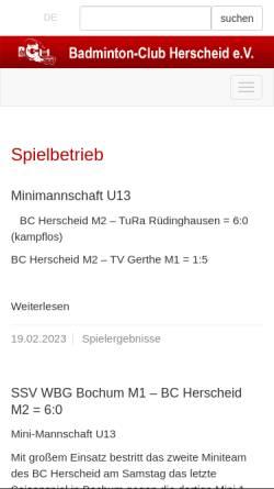 Vorschau der mobilen Webseite www.bc-herscheid.de, Badminton-Club Herscheid e.V.