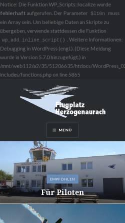 Vorschau der mobilen Webseite www.flugplatz-herzogenaurach.de, Flugplatz Herzogenaurach GmbH