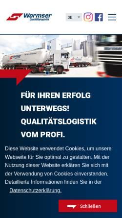 Vorschau der mobilen Webseite www.wormser.de, Spedition Wormser