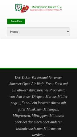 Vorschau der mobilen Webseite www.musikverein-holler.de, Musikverein Holler e.V.