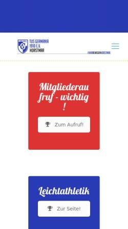 Vorschau der mobilen Webseite www.tus-germania-horstmar.de, TUS Germania Horstmar 1910 e.V.