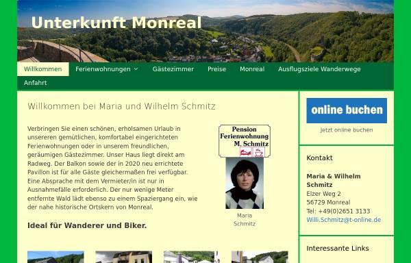 Vorschau von www.unterkunft-monreal.de, Unterkunft Monreal - Familie Maria und Willi Schmitz