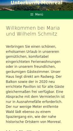 Vorschau der mobilen Webseite www.unterkunft-monreal.de, Unterkunft Monreal - Familie Maria und Willi Schmitz