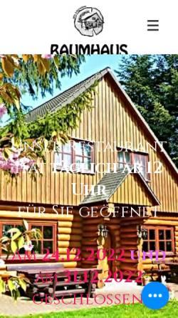 Vorschau der mobilen Webseite www.hotel-baumhaus.de, Hotel & Restaurant Baumhaus, Klein Pravtshagen