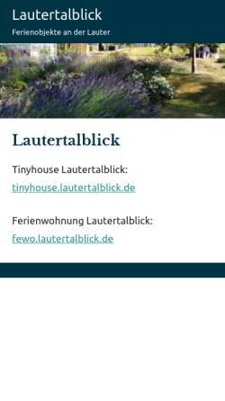 Vorschau der mobilen Webseite www.lautertalblick.de, Ferienwohnung Lautertalblick