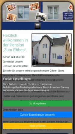Vorschau der mobilen Webseite www.zum-ebbes.de, Pension Zum Ebbes