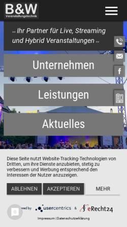Vorschau der mobilen Webseite www.bw-kettenheim.de, B&W Ton und Licht GdbR