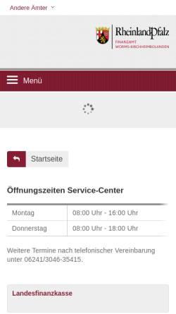 Vorschau der mobilen Webseite finanzamt-worms-kirchheimbolanden.fin-rlp.de, Finanzamt Worms-Kirchheimbolanden