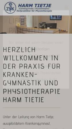 Vorschau der mobilen Webseite www.krankengymnastik-kirchlinteln.de, Krankengymnastik Harm Tietje