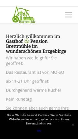 Vorschau der mobilen Webseite www.brettmuehle.com, Gasthof & Pension Brettmühle