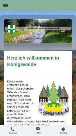 Vorschau der mobilen Webseite www.koenigswalde.de, Gemeinde Königswalde