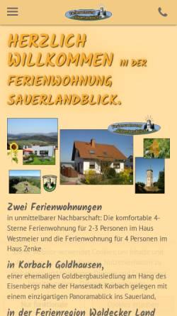 Vorschau der mobilen Webseite www.ferienwohnung-sauerlandblick.de, Ferienwohnung Sauerlandblick