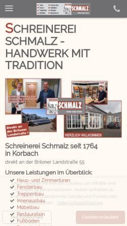 Vorschau der mobilen Webseite www.schreinerei-schmalz.de, Schreinerei Schmalz