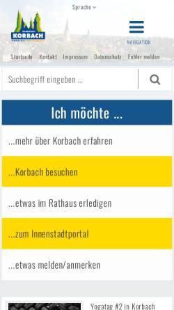 Vorschau der mobilen Webseite www.korbach.de, Stadt Korbach