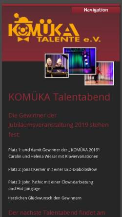 Vorschau der mobilen Webseite www.komueka.de, Komüka Talente e.V