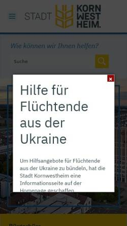 Vorschau der mobilen Webseite www.kornwestheim.de, Stadt Kornwestheim